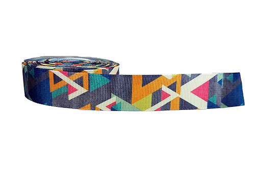 25mm Wide Grey/Gold/Green & Blue Geometric Shapes Martingale Collar