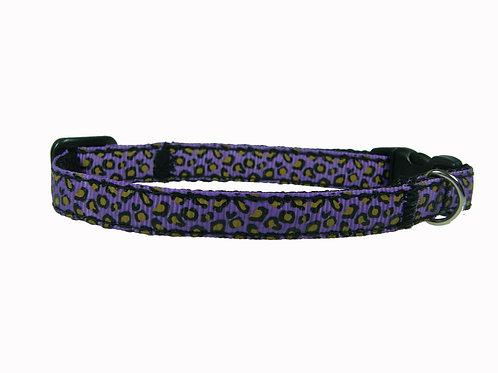 Purple Leopard Print Cat Collar