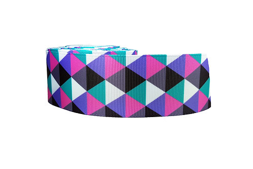 38mm Wide Pink & Purple Triangles Dog Collar