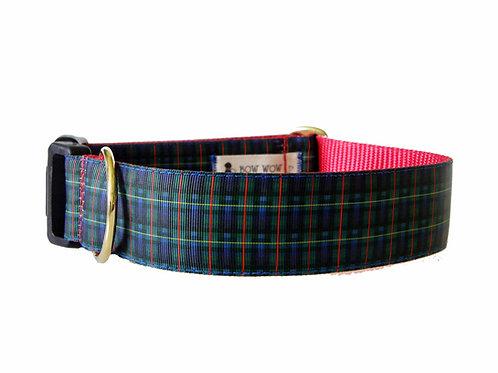 38mm Wide Blue/Green Tartan Dog Collar