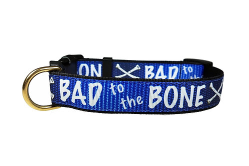 25mm Wide Bad to the Bone (Blue) Dog Colla