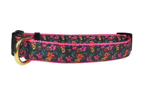 25mm Wide Jungle Flowers Dog Collar