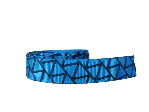 19mm Wide Blue Geometric Shapes Double Ended Lead