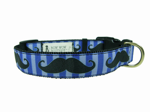 25mm Wide Moustache on Blue Dog Collar