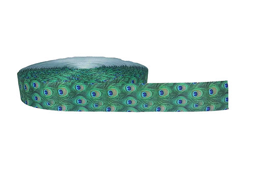 25mm Wide Peacock Feathers Martingale Collar