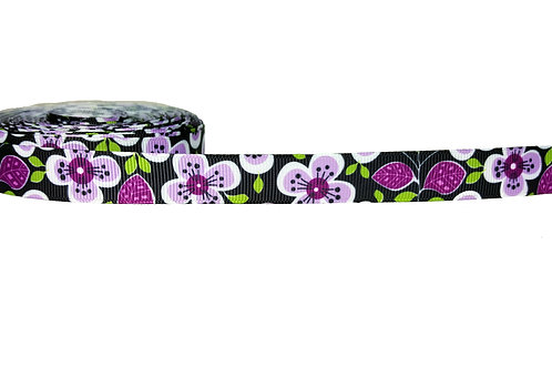 19mm Wide Purple Flowers Martingale Collar