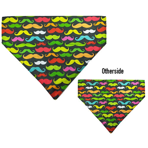Large Multi Coloured Moustaches Bandana