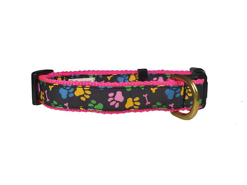 19mm Wide Pink Paw Prints Dog Collar
