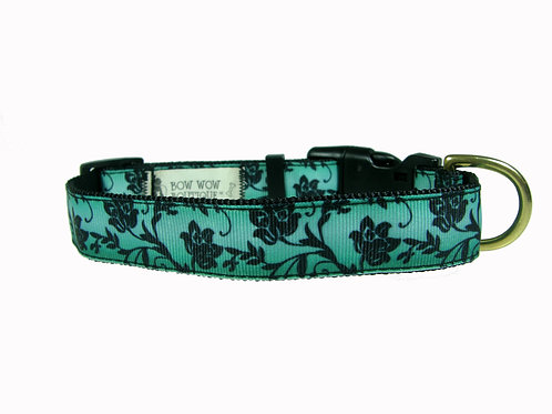 25mm Wide Black Flowers on Green Dog Collar