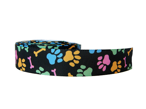 25mm Wide Multi Coloured Paw Prints Lead