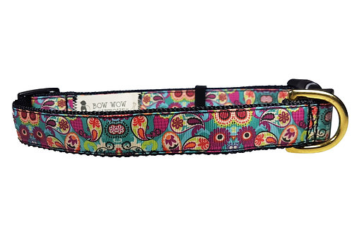 25mm Wide Multi Coloured Paisley Dog Collar