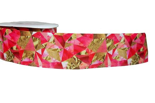 38mm Wide Pink and Gold Foil Martingale Collar