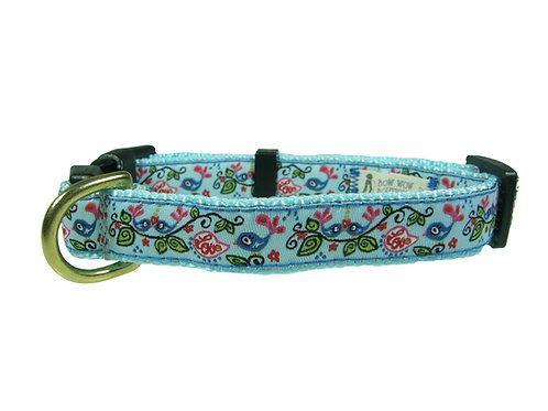 19mm Wide Blue Birds Dog Collar