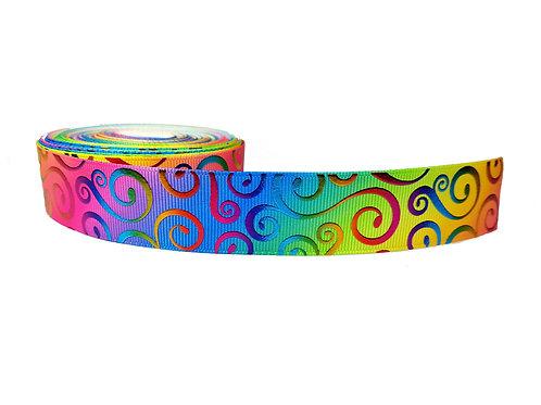 25mm Wide Rainbow Swirls Lead