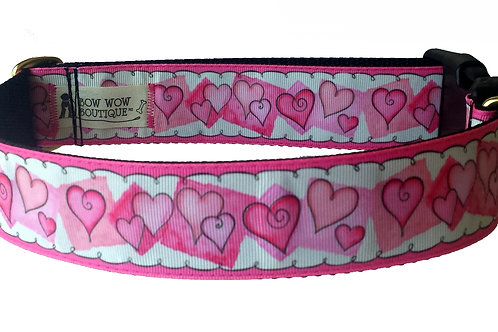 38mm Wide Pink Hearts Dog Collar