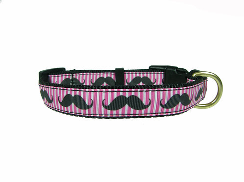19mm Wide Moustache on Pink Collar