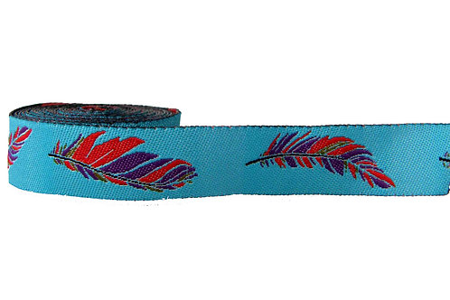 19mm Wide Purple & Red Feathers on Blue Collar