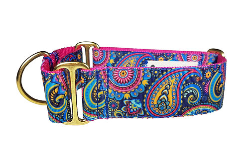 38mm Wide Midnight Paisley Martingale Dog Collar