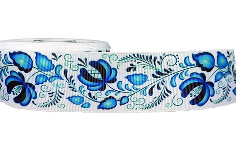 38mm Wide Blue Flowers Dog Collar