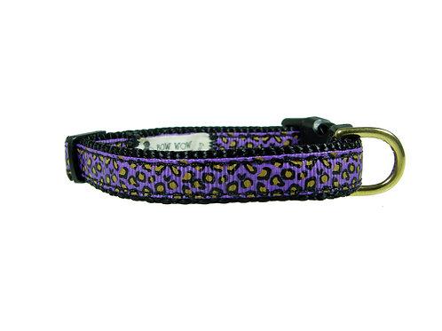 12.7mm Wide Purple Leopard Print Collar