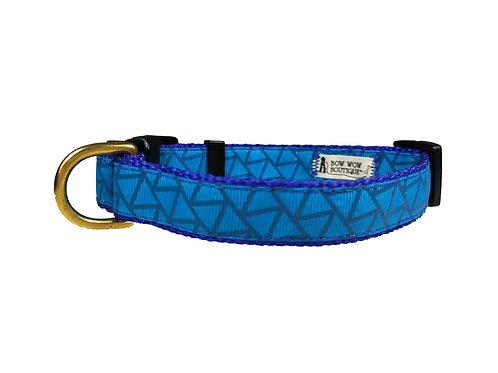 19mm Wide Blue Geometric Shapes Dog Collar