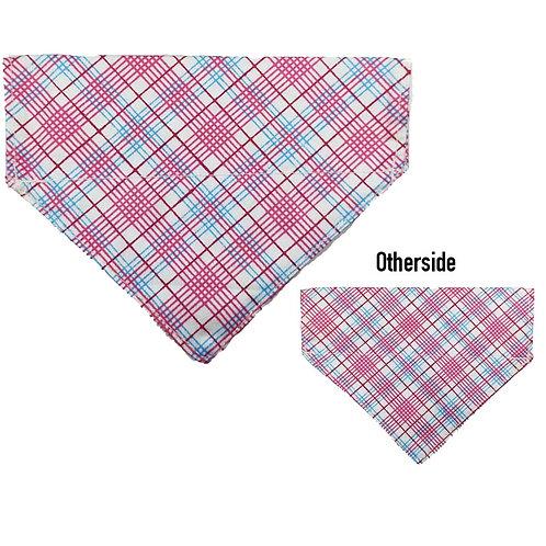 Small Pink, Blue & White Criss Cross Bandana