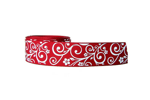 25mm Wide White Flowers on Red Double Ended Lead