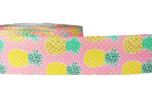 38mm Wide Pineapples on Pink Dog Collar