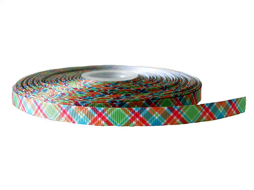 12.7mm Wide Red, Green and Blue Tartan Double Ended Lead