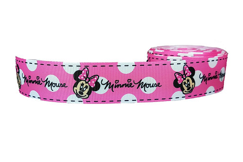 25mm Wide Minnie Mouse (Pink) Martingale Collar