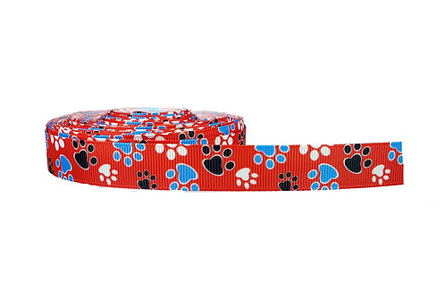 19mm Wide Blue and Black Paw Prints on Red Martingale Collar