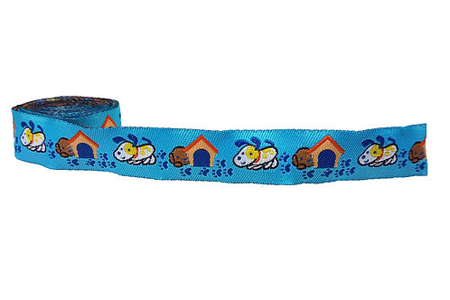 19mm Wide Dogs on Blue Double Ended Lead