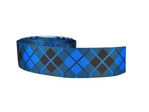 38mm Wide Black Diamonds on Blue Martingale Collar