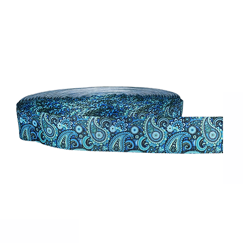 25mm Wide Blue Paisley Double Ended Lead