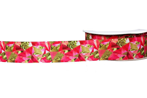 25mm Wide Pink & Gold Foil Dog Collar