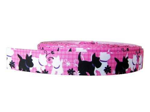 25mm Wide Westie and Scottie on Pink Martingale Collar