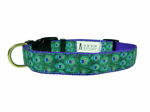 25mm Wide Peacock Feathers Dog Collar