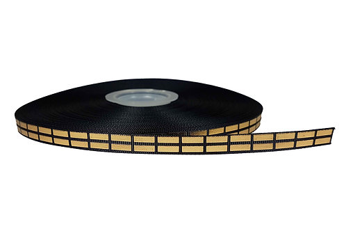 12.7mm Wide Gold Bricks on Black Double Ended Lead