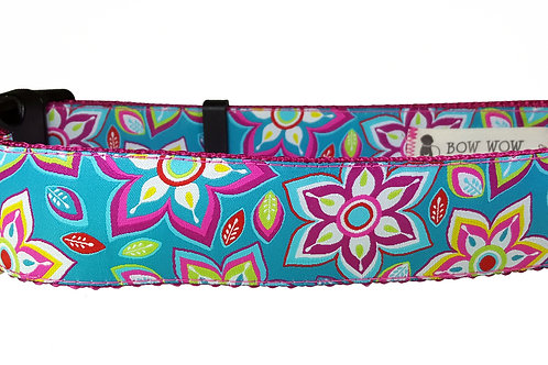 38mm Wide Teal w/ Pink Flowers Dog Collar