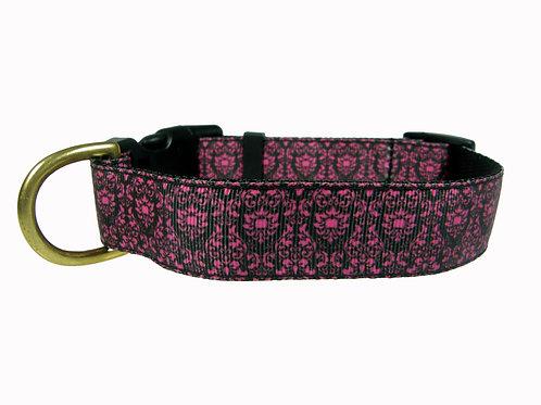 25mm Wide Pink Regal Pattern Dog Collar