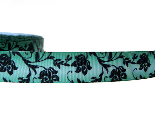 25mm Wide Black Flowers on Green Red Lead