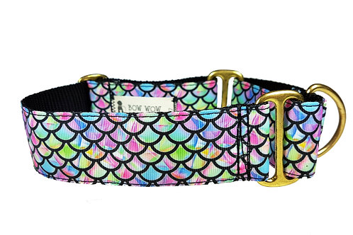 38mm Wide Crystal Mermaid Scales Martingale Dog Collar