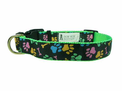 25mm Wide Multi Coloured Paw Prints Dog Collar