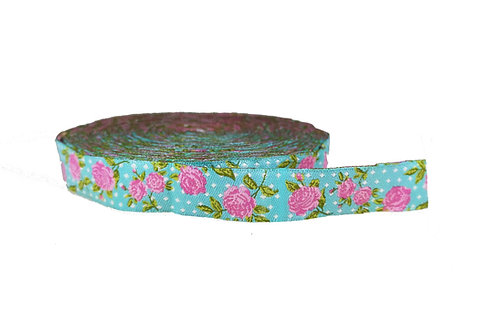 19mm Wide Pink Roses on Light Blue Polka Dots Double Ended Lead