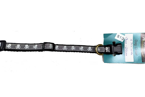 12.7mm Wide Grey Skulls Dog Collar