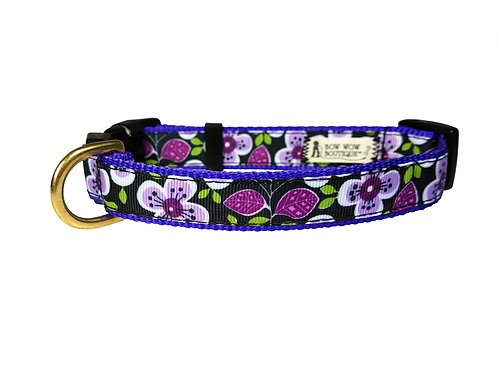 19mm Wide Purple Flowers Collar