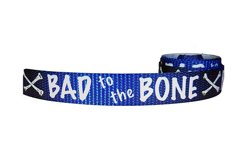 25mm Wide Bad to the Bone (Blue) Double Ended Lead