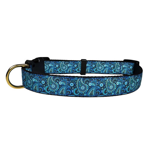 25mm Wide Blue Paisley Dog Collar