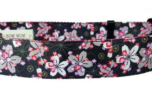 38mm Wide Black w/ Asian Flowers Dog Collar