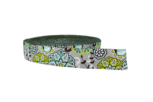 25mm Wide Light Blue Flowers on Silver Dog Collar